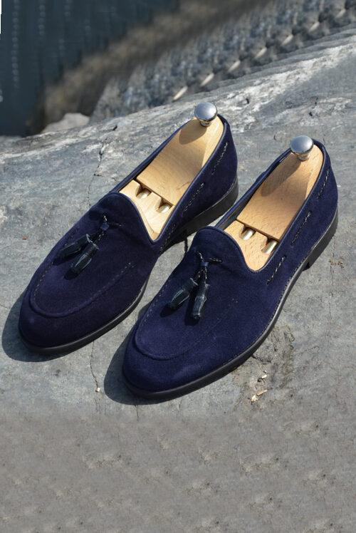 Blue Suede Tassel Loafers by Sardinelli
