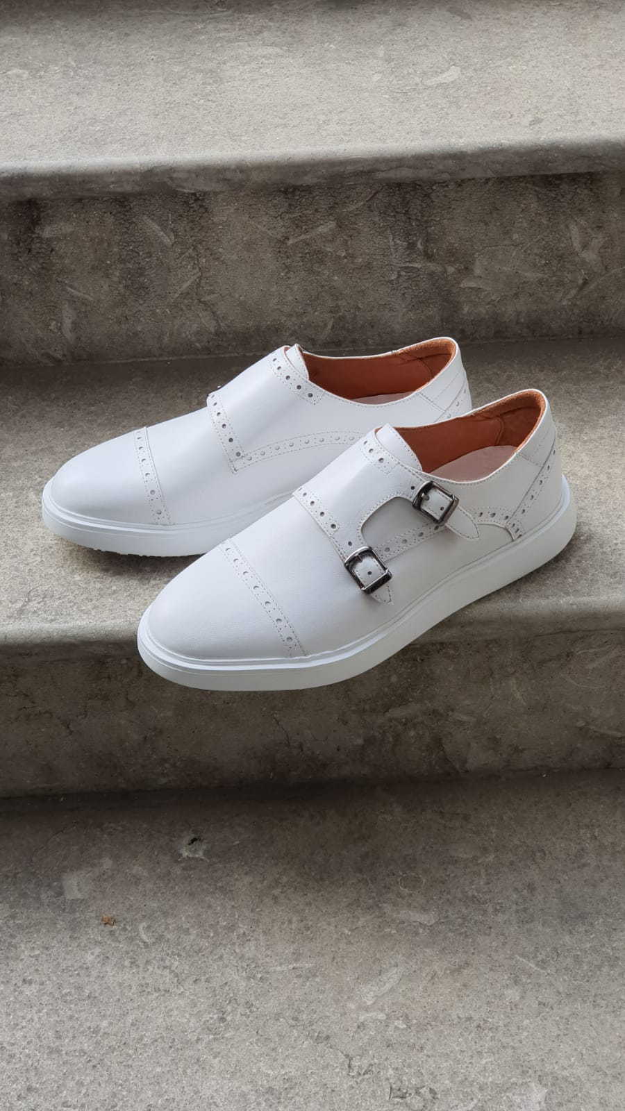 White Monk Strap Shoes by Sardinelli