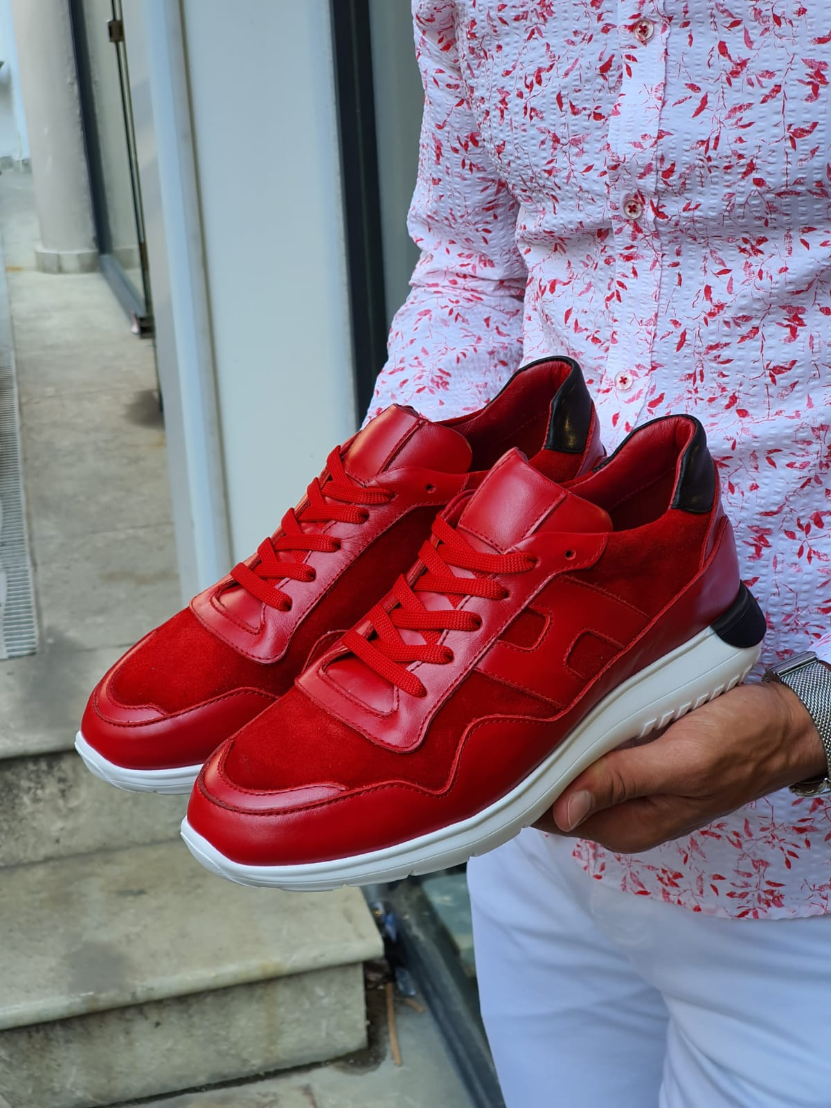 Buy Red Mid Top Sneakers by Sardinelli